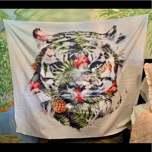 Tropical tiger tapestry.